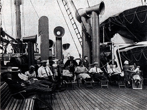 Third-Class Passengers on the Promenade Deck of S.S. Deutschland