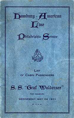 Front Cover, Passenger List, Hamburg-American Line S.S. Graf Waldersee, 24 May 1911