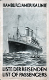 Front Cover - Passenger List, S.S. New York, Hamburg-American Line, January 1929