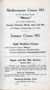 Mediterranean Cruises 1913 and Summer Cruises 1913