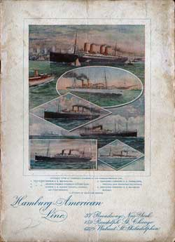 Front Cover - 22 April 1902 Passenger List, S.S. Pennsylvania, Hamburg-American Line