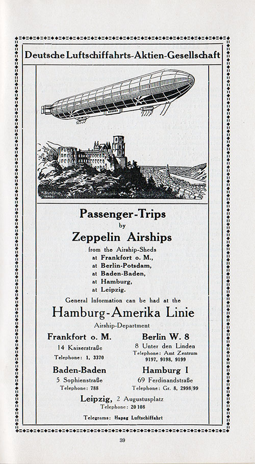 Zeppelin Airships Passenger Trips Advertisement