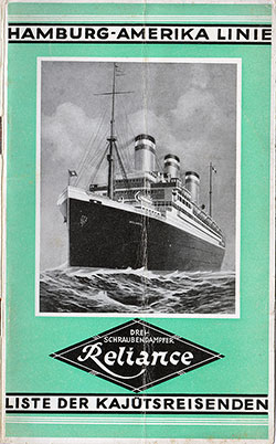 1927-07-30 Passenger Manifest for the S.S. Reliance