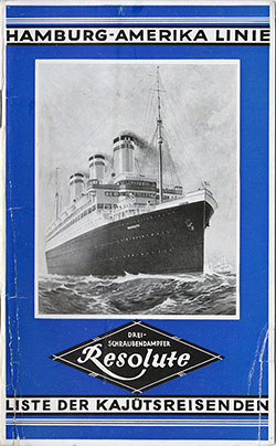 1927-08-16 Passenger Manifest for the S.S. Resolute