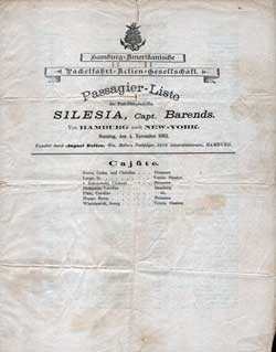 1883-11-04 Passenger Manifest for the S.S. Silesia