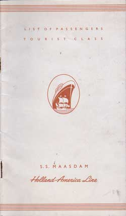 1953-07-15 Passenger Manifest for the S.S. Maasdam