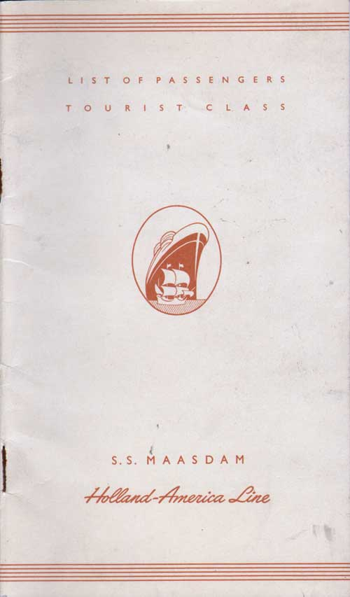 Front Cover, S.S. Maasdam Passenger List 15 July 1953