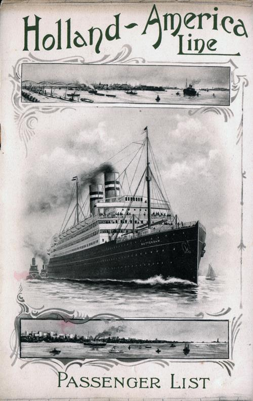 Passenger List, T.S.S. Nieuw Amsterdam, Holland-America Line, September 1910, Rotterdam to New York - Front Cover
