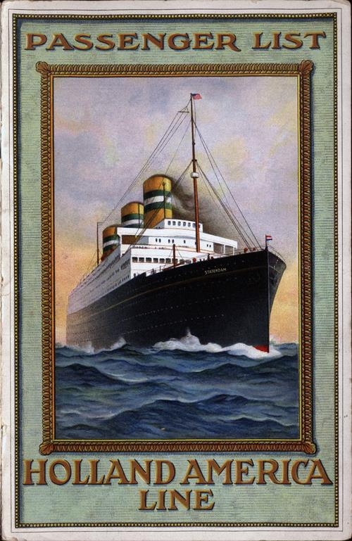 Passenger List, TSS Nieuw Amsterdam, Holland-America Line, May 1915, Rotterdam to New York