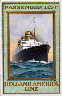 Passenger List, T.S.S. Nieuw Amsterdam, Holland-America Line, May 1915, Rotterdam to New York