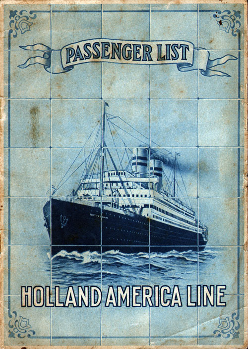 Passenger List, TSS Nieuw Amsterdam, Holland-America Line, June 1921, New York to Rotterdam - Front Cover