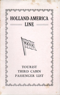 Front Cover, Passenger List, T.S.S. Nieuw Amsterdam, Holland-America Line, July 1930, Rotterdam to New York