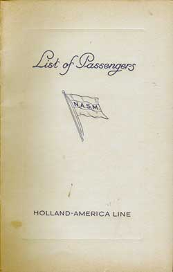 1938-08-27 Passenger Manifest for the T.S.S. Nieuw Amsterdam
