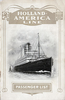 Front Cover, Passenger List, Holland-America Line T.S.S. Noordam, 18 June 1912