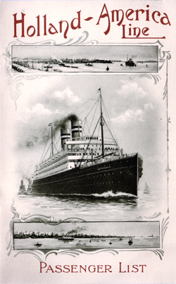 Passenger List, Holland America Line T.S.S. Potsdam, 1909, Rotterdam to New York