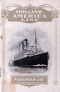 Passenger List, S.S. Rotterdam, Holland-America Line, August 1912, Rotterdam to New York