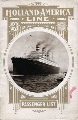 Passenger List, S.S. Rotterdam, Holland-America Line, April 1913, Rotterdam to New York