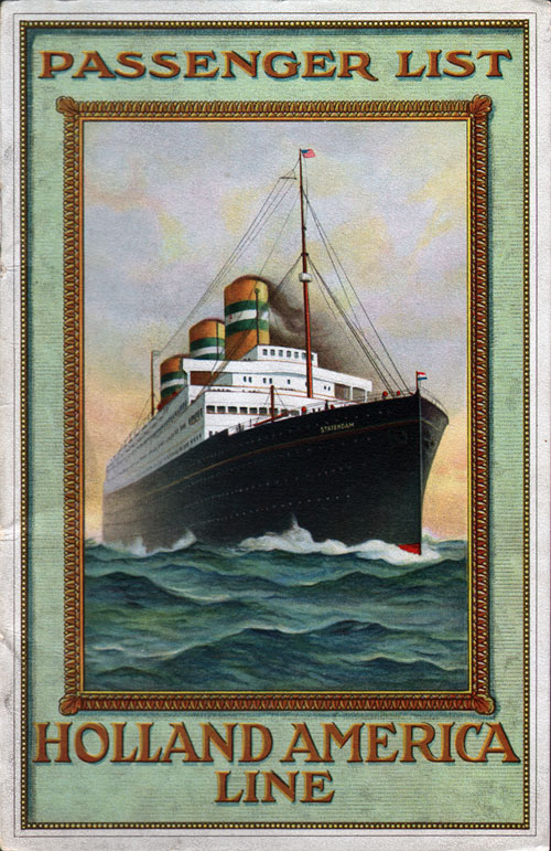 Passenger List, T.S.S. Rotterdam, Holland-America Line, October 1920, Rotterdam to New York - Front Cover