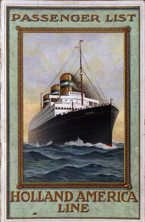 Passenger List, Holland America Line S.S. Rotterdam - 1921 - Front Cover