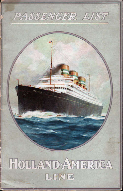 Passenger List, Holland-America Line S.S. Rotterdam - July 1921 - Front Cover
