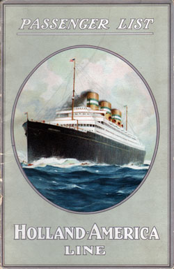 Passenger Manifest, Holland America S.S. Rotterdam August 1921 - Front Cover
