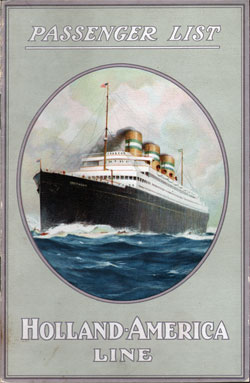 Passenger List, Holland America S.S. Rotterdam - 1922 - Front Cover