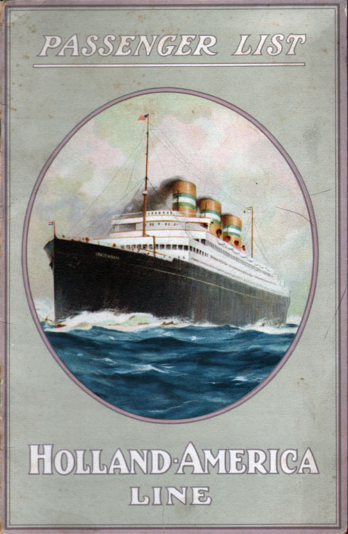 Passenger List, Holland America Line SS Rotterdam 1925 - Front Cover