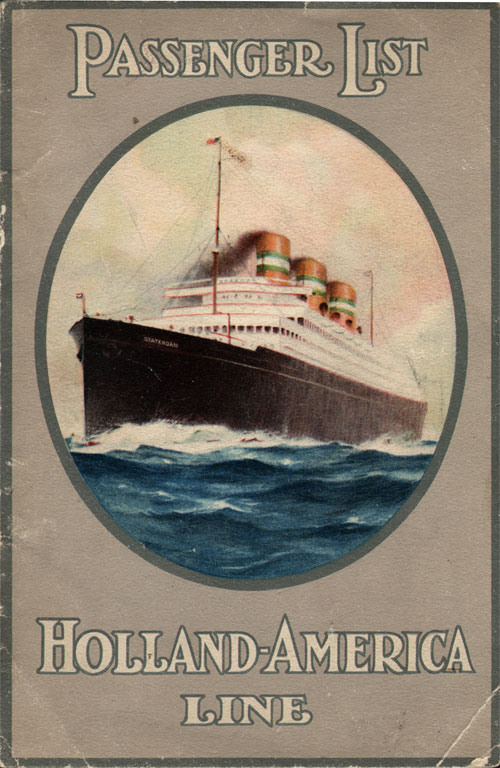 Passenger List, Holland America Line S.S. Rotterdam July 1926 - Front Cover