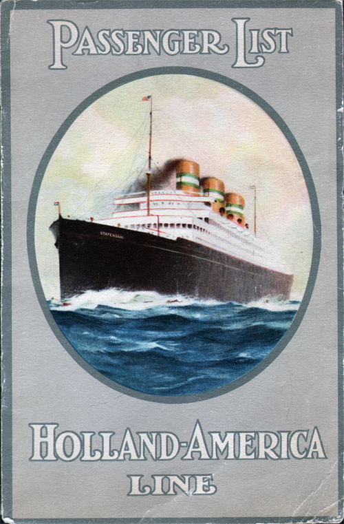 Passenger List, Holland America SS Rotterdam Aug 1926 - Front Cover