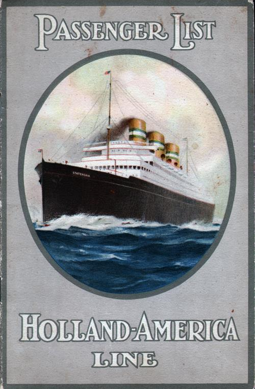 Front Cover, Passenger List, SS Rotterdam, Holland-America Line, August 1930