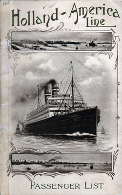 Passenger List, T.S.S. Ryndam, Holland-America Line, December 1910, Rotterdam to New York - Front Cover