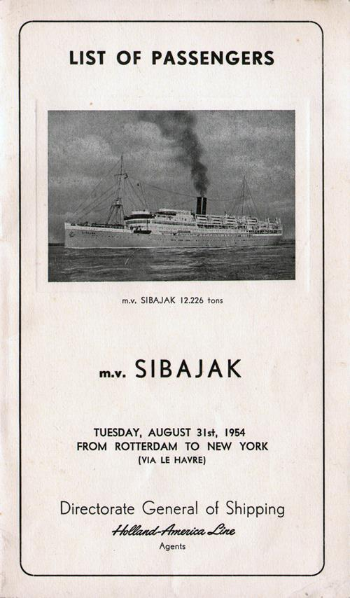 Front Cover, Passenger List, M.V. Sibajak, Holland-America Line, August 1954