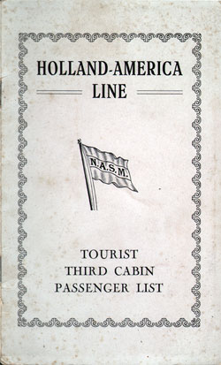 Front Cover, Passenger List, T.S.S. Statendam, Holland-America Line, September 1930