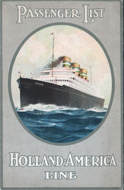 Front Cover, Holland-America Passenger List - T.S.S. Statendam 1934