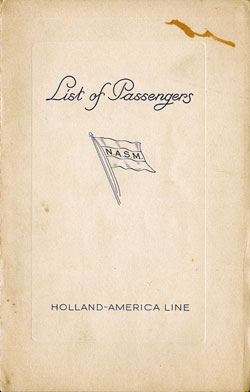 Passenger Manifest Cover, July 1937 Westbound Voyage - T.S.S. Statendam