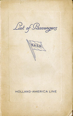 Passenger Manifest Cover, October 1938 Westbound Voyage - T.S.S. Statendam