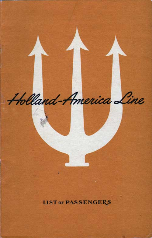Front Cover - 23 July 1948 Passenger List, TSS Veendam, Holland-America Line