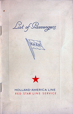 1939-09-09 Passenger Manifest for the S.S. Volendam