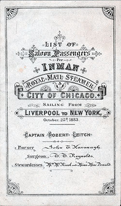Passenger Manifest, Inman Line R.M.S. City of Chicago - 1883
