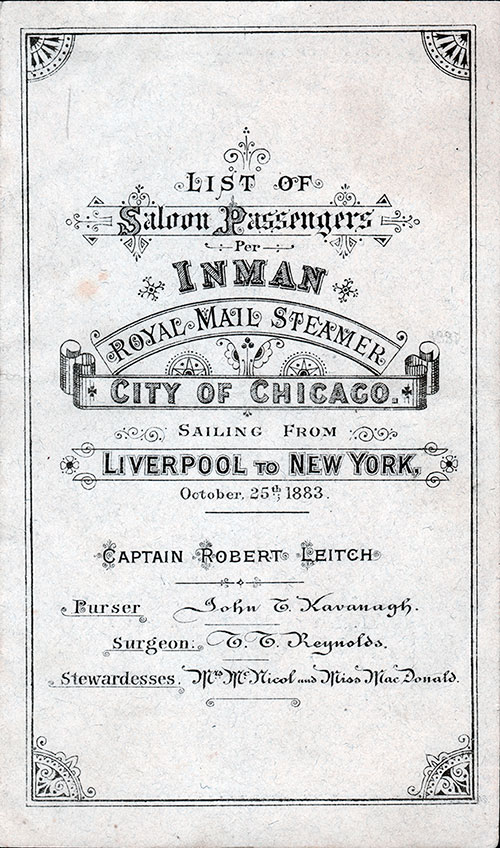 Passenger List, Inman Line RMS City of Chicago - 1883