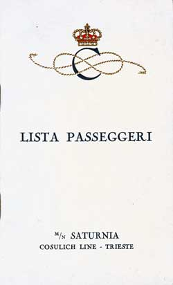 1929-08-25 Passenger List for SS Saturnia