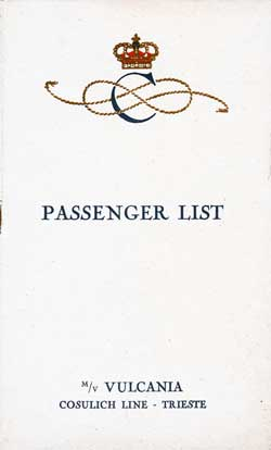 1930-08-19 Passenger Manifest for the S.S. Vulcania