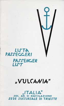 Front Cover - 1938-07-14 Passenger Manifest for the S.S. Vulcania<