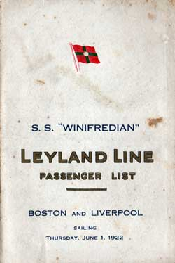 1922-06-01 Passenger Manifest for the SS Winifredian