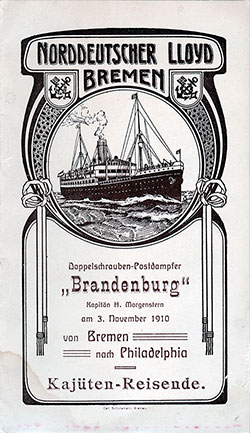1910-11-03 Passenger Manifest for the SS Brandenburg