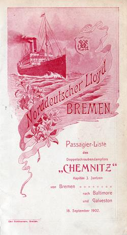 1902-09-18 Ships List for the S.S. Chemnitz