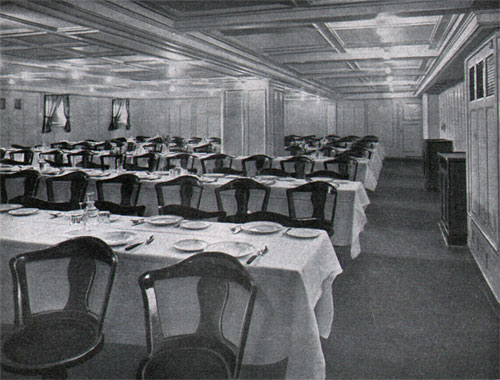 Third Class Dining Room on the S.S. Columbus