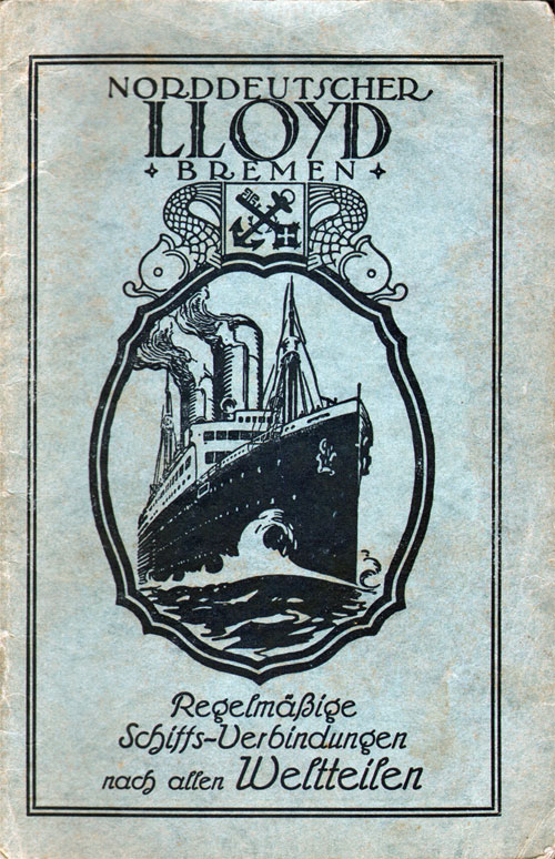 Front Cover, Passenger List, S.S. Columbus, North German Lloyd, October 1928, Bremen to New York