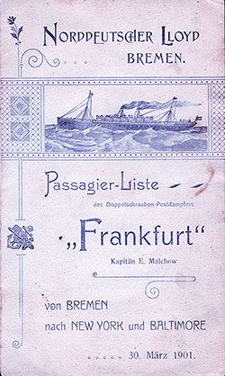 1901-03-30 Passenger Manifest for the SS Frankfurt