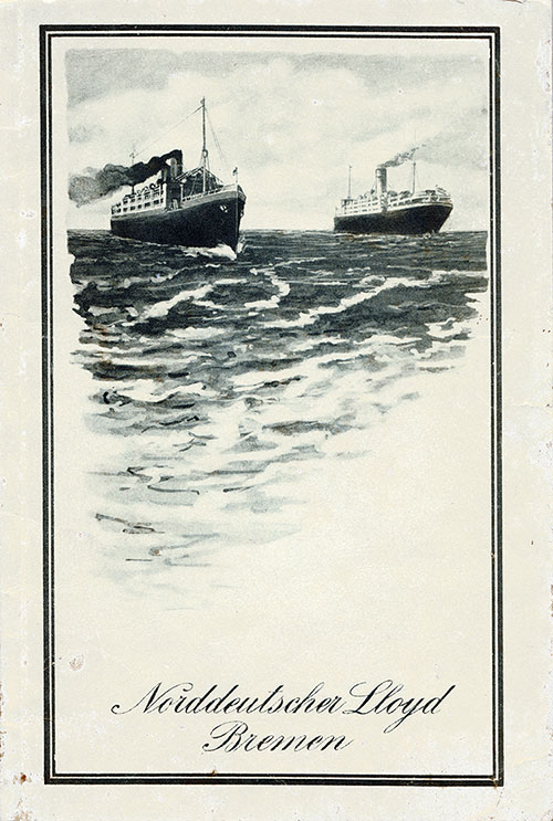 Front Cover, Passenger List, North German Lloyd, SS Grosser Kurfürst, 8 November 1913